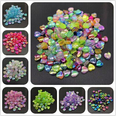Heart Beads (100pcs 8mm Acrylic Spacer Beads Heart Shape Rainbow Beads For Jewelry)