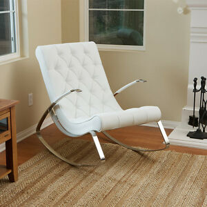 Barcelona-City Luxury Modern Design White Leather Rocking Lounge Chair