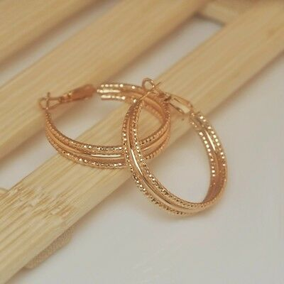 Champagne Gold (Dynamic champagne gold plated triple row smooth textured 1 inch hoop)