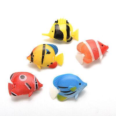 2/5p Artificial Fake Plastic Fish for Aquarium Ornament Fish