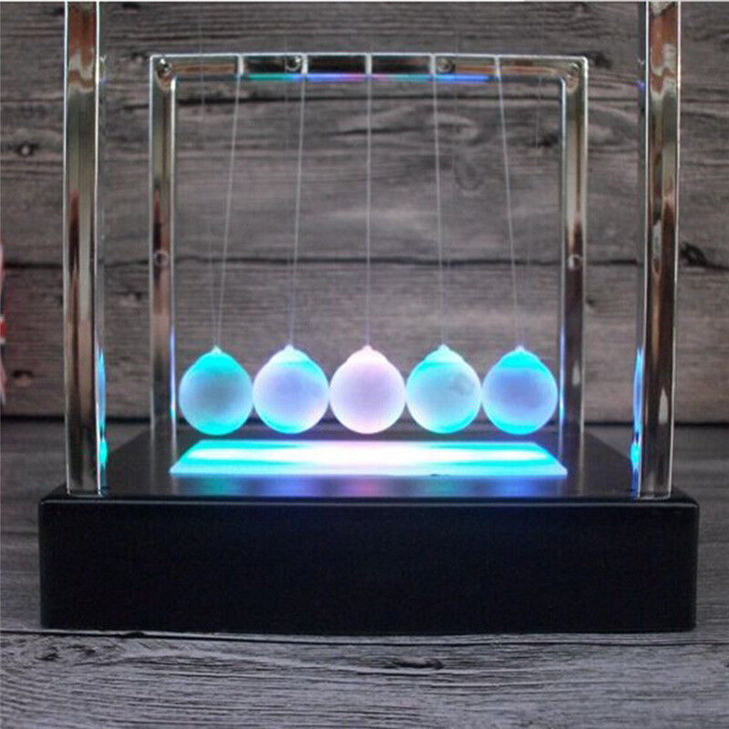 Light Up Newtons Cradle Balance Ball Home Decor Office Science Desk Toy Gift