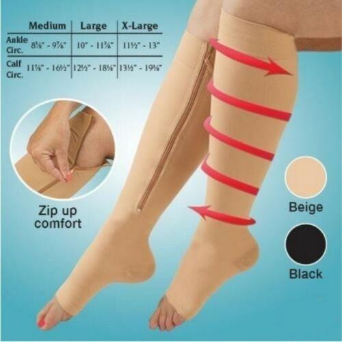 Zippered Compression Socks Support Stockings Leg Calf Men's