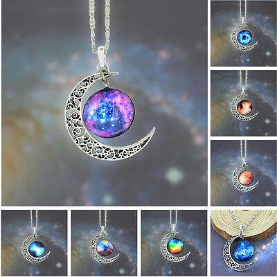 Celestial Sun Jewelry - Women Nebula Sun Celestial Crescent Moon Galaxy Pendant Chain Necklace Jewelry