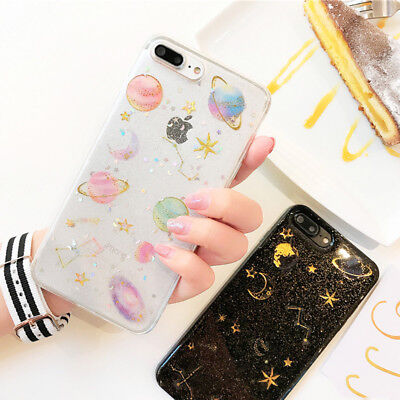 Soft Cute Space Planet Glitter Silicone Phone Cover Case for iPhone 6 7 8 Plus X](Space Character)