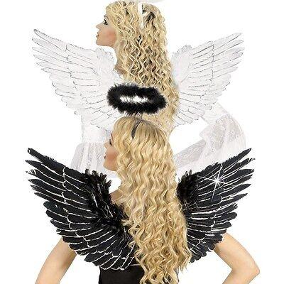 Schwarz Feder Engel Flügel Kostüme (WOW FEDER FLÜGEL weiß oder schwarz mit SILBERGLITTER Engelsflügel Engel Kostüm)