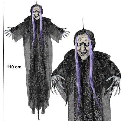 HEXE 110cm Deko Horror Figur hängend Halloween Schocker Dämon Zombie #5819