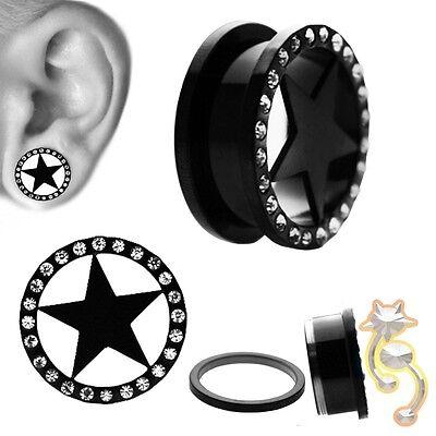 Anodized Titanium Star Black Plugs Clear CZ Ear Gauge Body Jewelry Tunnel Ear