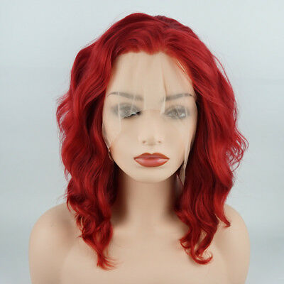 Meiyite Hair Wavy Short 14inch Red Half Hand Tied Synthetic Lace Front -