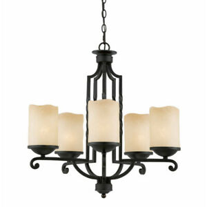 Rustic 6-Light Solid Iron Chandelier – SPOTLESS!!