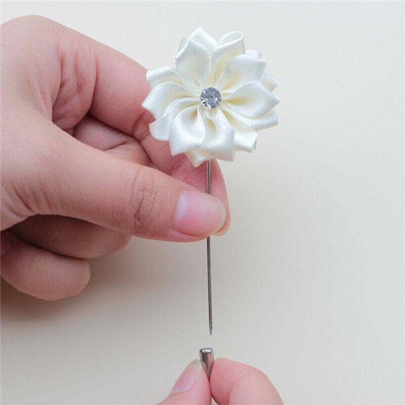 Wedding Satin Groom Corsage Crystal Rose Lapel Pin Brooch