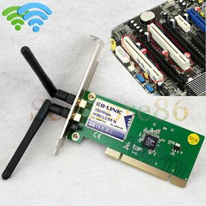 300Mbps 2x Antennas Wireless WiFi PCI Network Card LAN Dongle Adapter Laptop PC
