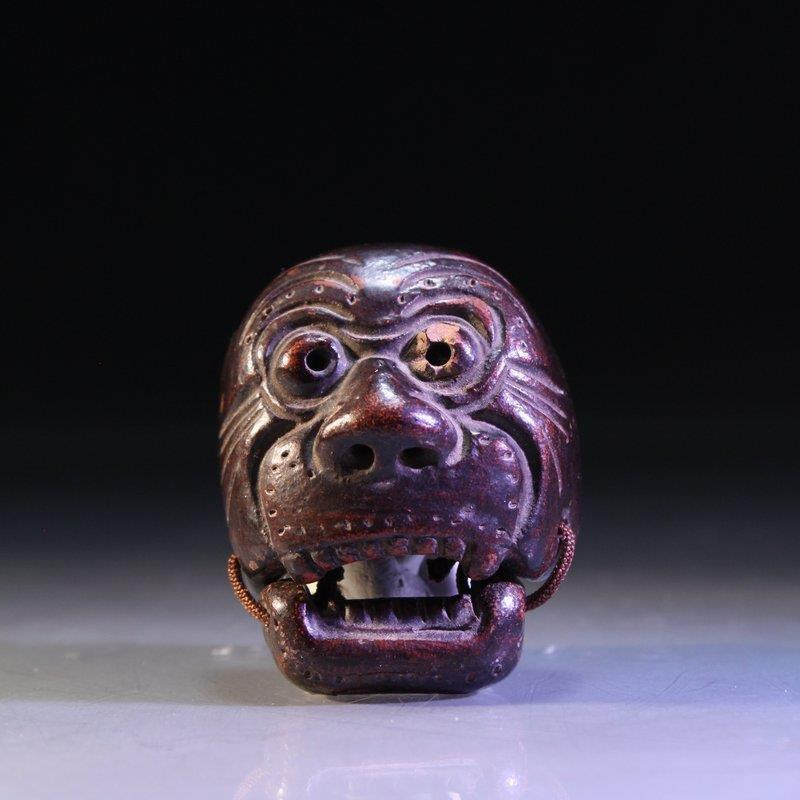 Fine Japanese Carved Wood Netsuke/Mask