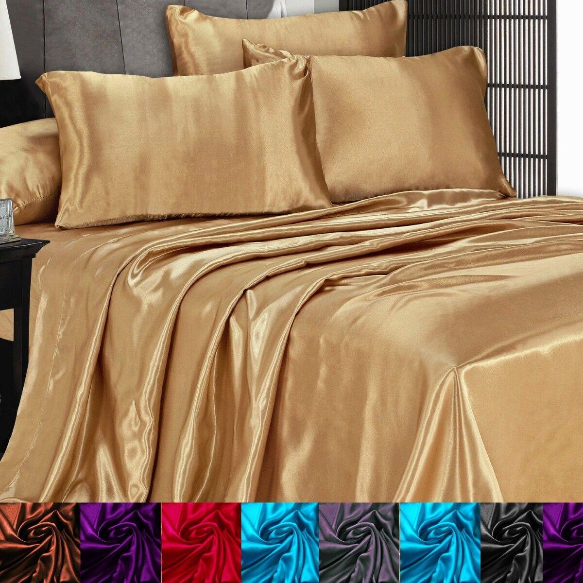 Satin Silky Sheet Set Queen/King Size Flat Fitted Pillows 50