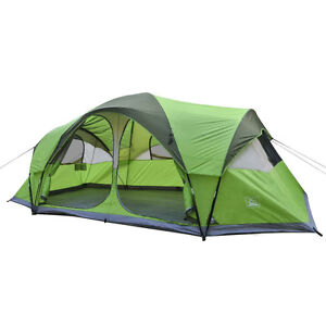 Ventura 2 Room 10 Person Family Dome Outdoor Green Camping Tent