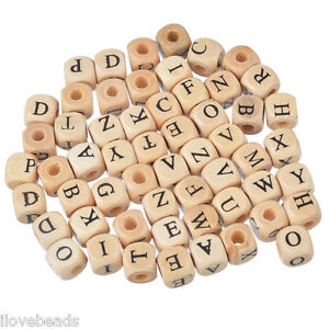 LOVE 100PCs Mixed Natural Color Cube Alphabets Letter Wood Beads Jewelry 10mm