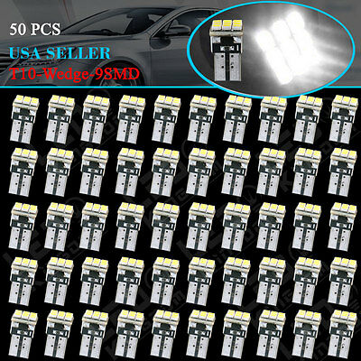 - 50 PCS Super White T10 Wedge 9-SMD Interior LED Light bulbs W5W 194 168 2825 158