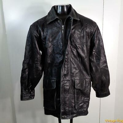 CLAIBORNE Lambskin LEATHER JACKET Mens Size L Black zippered