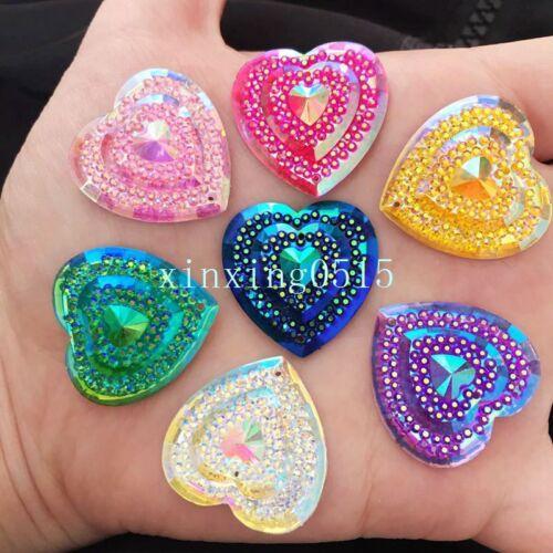 DIY 12PCS 25mm AB Resin heart  Flatback Rhinestone Craft/Wedding 2 hole buttons