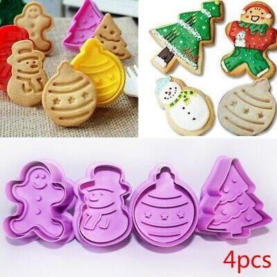 4Pcs Christmas Cookie Plunger Cutter Mould Fondant Snowman/Xmas Tree Baking Mold ()