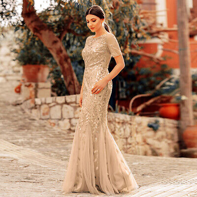 Dress Sequins (Ever-Pretty US Gold Evening Dress Long Sequins Fishtail Bodycon Party Gown)