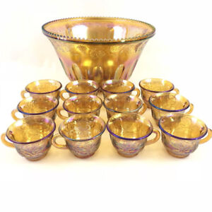 Vtg Indiana Gold Carnival Glass Punch Bowl Set W/ 12 Punch Cups