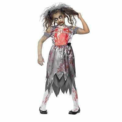 Girls Zombie Bride to Be Dress Costume with Veil Kids Halloween Creepy Scary (Bride To Be Halloween Costume)