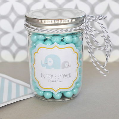 24 Personalized Blue Elephant Theme Mini Mason Jars Baby Shower
