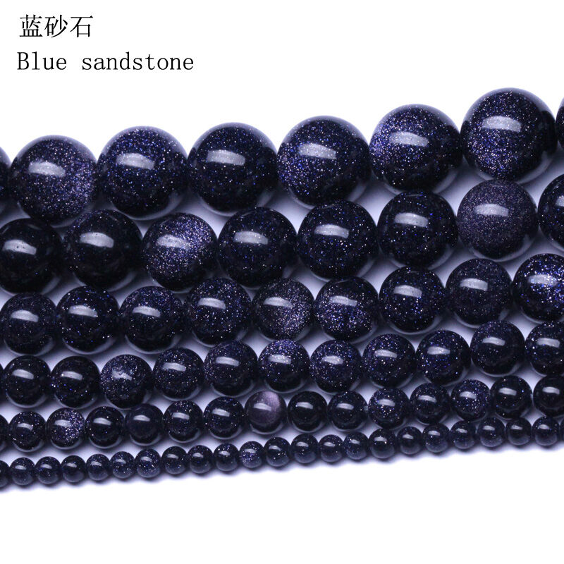 """16/"""" Strand Natural Blue Sand Stone Round Spacer Loose Bead Jewelry Making 4-10MM"""