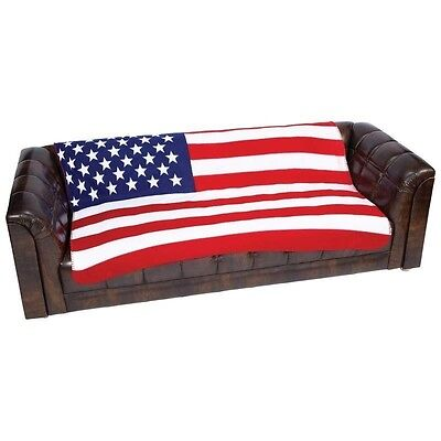 New US FLAG Soft Plush Fleece BLANKET Bed Sofa Cover Throw United States USA ()