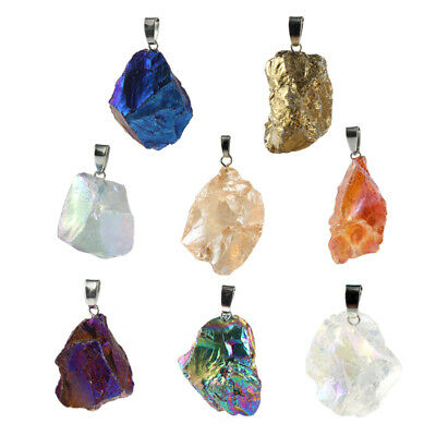 Natural Rainbow Rock Stone Crystal Quartz Gem Pendant For DIY Necklace Making
