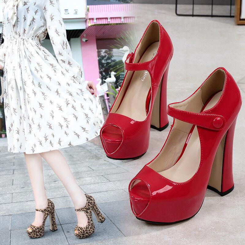 Details about Peep toe Platform Chunky Heel 16cm High Heels Mens Crossdresser Shoes Large Size