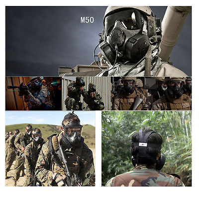 Men's Airsoft Protection Dual Fan M50 Gas Mask style Full Face Fog Free Cool