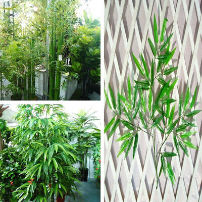 10x Home Artificial Leaf Bamboo Plants Plastic Green Tree Branches Decor Outdoor