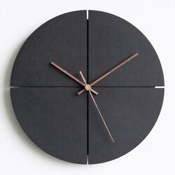 Modern Wooden Wall Clock, Walnut Hands, Silent Quartz Mechanism