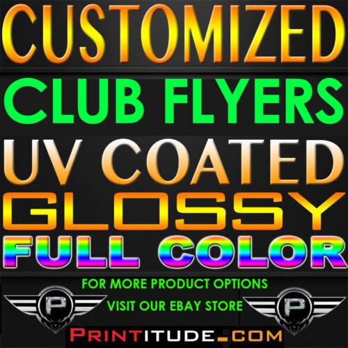 1000 CLUB FLYERS 5.5x2.125 FULL COLOR UV GLOSS 2 SIDE 14PT POSTCARD OFFSET PRINT