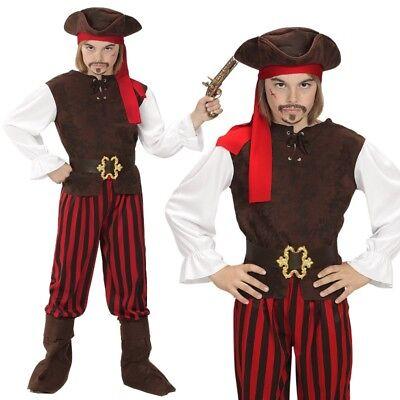 Karibischer Pirat Pit - Piraten Kostüm Kinder Jungen rot-schwarz-weiß 116 - 158