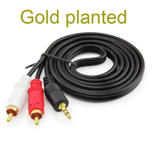 gold 3.5mm To 2RCA Audio Y Adaptor Cable For Insignia NS-SBAR A Soundbar Speaker