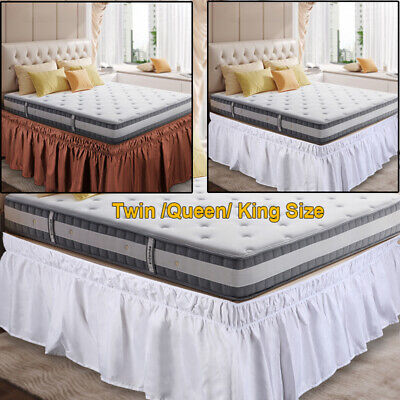 "Bed Skirt Polyester Wrap Around Dust Ruffle 15"" Drop Elastic Twin Queen King"