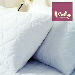 Poly-cotton Quilted Pillow Protectors, Pair