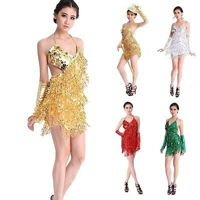 Ballroom Dance Outfit (Women Sequin Fringe Dress Rumba Latin Dance Dress Tassel Ballroom Costume)