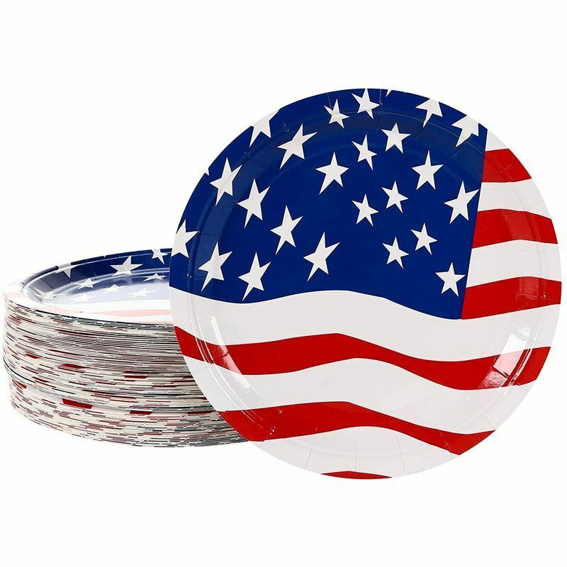 4th of July American Flag Patriotic Disposable Party Dinnerware Set  (80 Pack)