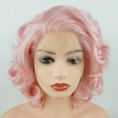 Meiyite Hair Wavy Short 10inch Pink Heavy Density Synthetic Lace Front Wig - Short Pink Wigs