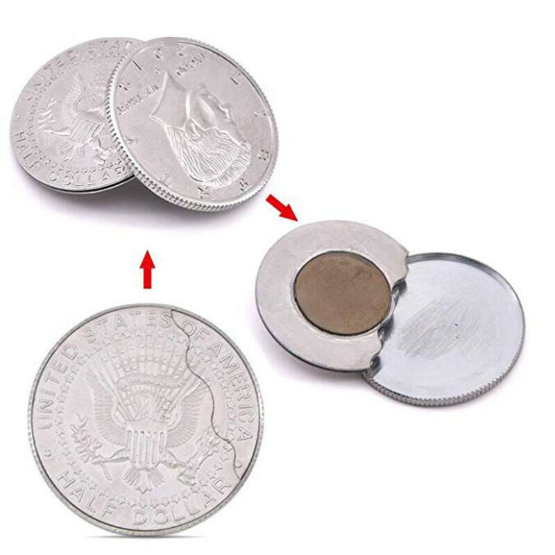 Magnetic Flipper Coin Butterfly Coin (half Dollar size) Magic Tricks Close up