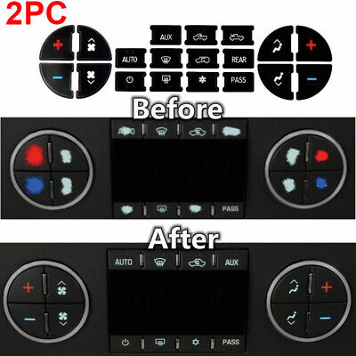 2x AC Dash Button Repair Kit Decal Stickers Replacement for Chevrolet GMC Tahoe