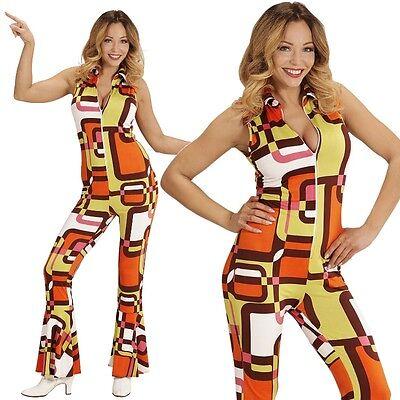70er Disco Girl Overall mit Schlag 38/40 -M- Damen Kostüm Hippie Jumpsuit  #8932 (70er Disco Girl Kostüm)