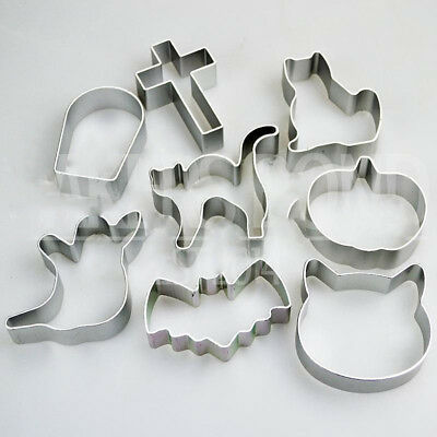 DIY Halloween Shape Set of 8 Metal Cookie CutterS Bat Pumpkin cAKE Biscuit Mould](Diy Halloween Cookies)