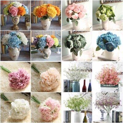 Silk Flower Bridal Hydrangea Artificial Fake Peony Home Wedding Garden Decors Us