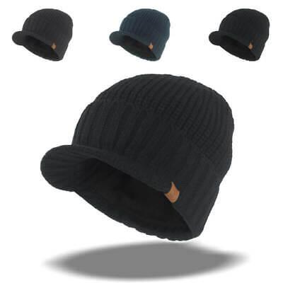 Mens Wool Blend Hat Visor Brim Beanie with Bill Knit Baseball Softball Skull Cap Wool Skull Cap