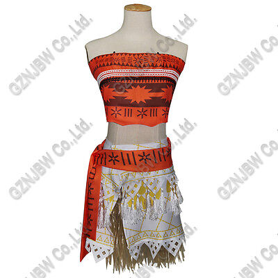 Girl Women Polynesia Princess Moana Cosplay Costume Dress Halloween 4Pcs Party