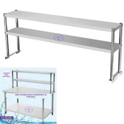 New Stainless Steel Work Prep Table Commercial Double Deck Overshelf Shelf